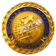 Douglas Aircraft Co. 10k Gold & Diamonds 20 Year Service Pin