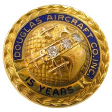 Douglas Aircraft Co. 10k Gold & Diamonds 15 Year Service Pin