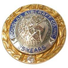Douglas Aircraft Co. 10k Gold & Diamonds 25 Year Service Pin