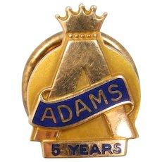 10k Gold Adams 5 Year Service Pin