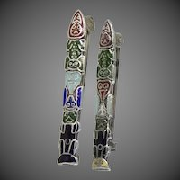 2 Art Deco Sterling Silver Totem Pole Pins
