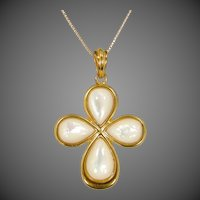 Veronese Sterling Vermeil Mother of Pearl Necklace