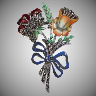 1920's Sterling Silver & Enamel Marcasites Floral Pin