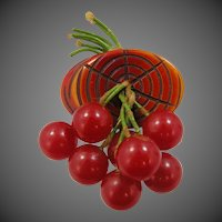 1940's Bakelite Cherries & Bark Pin