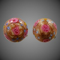 Italian Art Glass Wedding Cake Clip on Earrings
