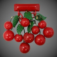 1940's HUGE Bakelite Carved Dangling Cherries Pin