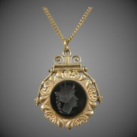 Victorian Intaglio Cameo Locket Fob | Pendant | Necklace