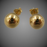 Nice Large Sterling Vermeil Ball Stud Earrings
