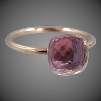 14k Rose Gold Checkerboard Faceted Natural Amethyst Ring