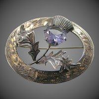 Hallmarked Mid Century Ward Bros. Sterling Silver Thistle Pin with Purple Sapphire