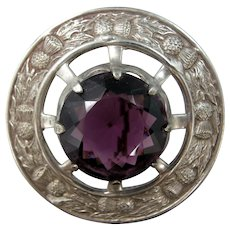 Huge Scottish Thistle Brooch with Large Purple Stone