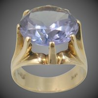 Large 14k Solid Gold 10 Carat Purple Sapphire Multi Prong Ring