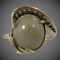 10k Gold Retro Era Soothing Jade Ring