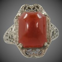 14k White Gold Filigree Art Deco Carnelian Ring