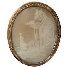 Victorian 14k Gold Rebecca at the Well Shell Cameo Pin / Pendant