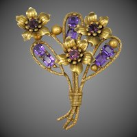 "HUGE Art Deco Brass & Glass Floral Pin 4"" High"