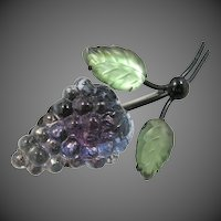 Unusual Austria Glass Grape Cluster Pin