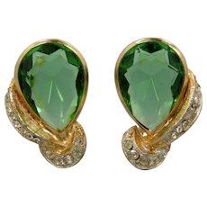 Pretty Green Glass B.S.K. Clip on Earrings