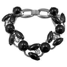 Juliana 5 Ring Construction Black Glass Bracelet
