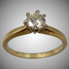 14k Gold 0.35 Carat Solitaire Diamond Ring Engagement | Wedding