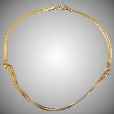 14k Gold Tri-Color Braided Bracelet