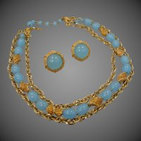 Trifari Mid Century 3 Strand Necklace & Matching Earrings