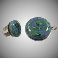Large Sterling Silver Paperweight Glass Ring & Pendant