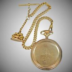Antique Elgin Hunter Case Pocket Watch, Fob & Watch Chain