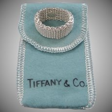 Tiffany & Co. Somerset Sterling Silver 925 Mesh Band Ring Size 10 1/4 with Pouch