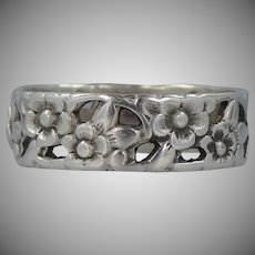 Art Deco Sterling Silver Pierced Floral Ring | Band | Wedding