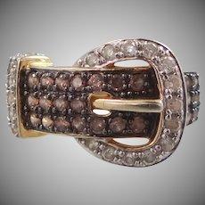 Sterling Vermeil Brown & White CZ's Buckle Motif Ring