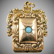Victorian Gold Filled Turquoise Locket Charm | Watch Fob | Pendant