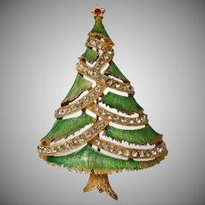 J.J. Green Enamel Rhinestone Christmas Tree Pin