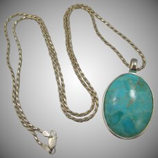 """BARSE Sterling Silver Turquoise Pendant on Thick 30"""" Sterling Chain"""