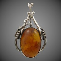 Russian Amber Sterling Silver Necklace