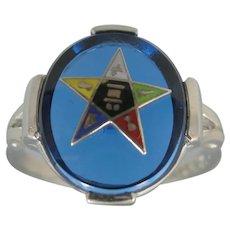 10k White Gold Sapphire Blue Spinel Eastern Star Ring