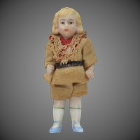 "Antique 5 Piece 3"" Bisque Miniature Doll with Original Outfit"