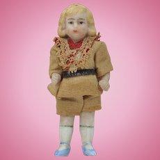 "Antique 5 Piece 3"" Bisque Miniature Doll with Original Outfit"