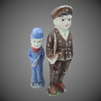 Japan Frozen Charlotte Bisque Military Dolls