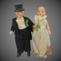 "Victorian 3 1/4"" High Germany Bisque Bride & Groom Miniature Dolls"