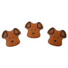 3 1930's Brown Celluloid Puppy Dog Buttons