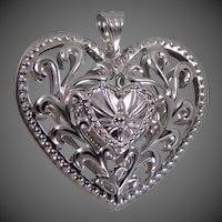 14k White Gold Puffy Heart Pendant Large