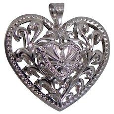 14k White Gold Puffy Heart Pendant Large