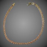"14k Yellow Gold Double Row Diamond Cut 7 1/4"" Long Bracelet"