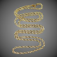 "14k Yellow Gold Diamond Cut 36"" Long Necklace"
