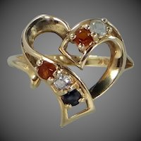 14k Gold Heart Shaped Gemstones Ring