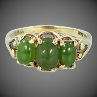 14k Gold Oval Green Jade Size 7 Ring