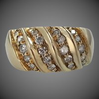Heavy 14k Solid Gold 20 Diamond Wide Band Ring Size 6