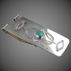 Navajo Sterling Silver & Turquoise Money Clip