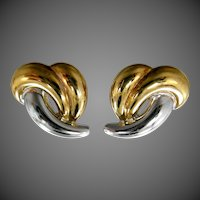 Heavy 14k White Gold & Yellow Gold Stud Earrings